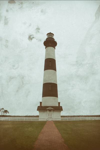 Bodie Lighthouse Glass Plate Effect Limited Edition Signed Abstract Photograph by Melissa Fague