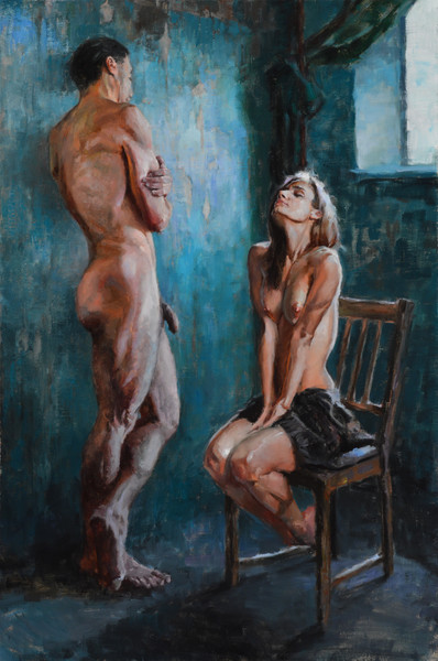 The Conversation oil on linen by Eric Wallis