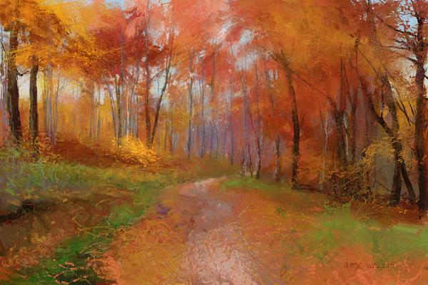 Autumn Pathway digital painting by Eric Wallis