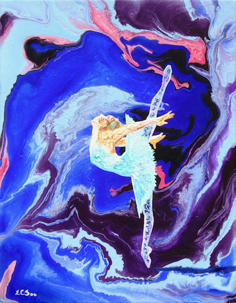Abstract Ballerina Art, Moonlight Excursion - Original Painting for Sale