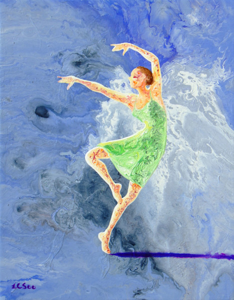 Abstract Ballerina Art, A Dance With Angel, Original Painting for Sale