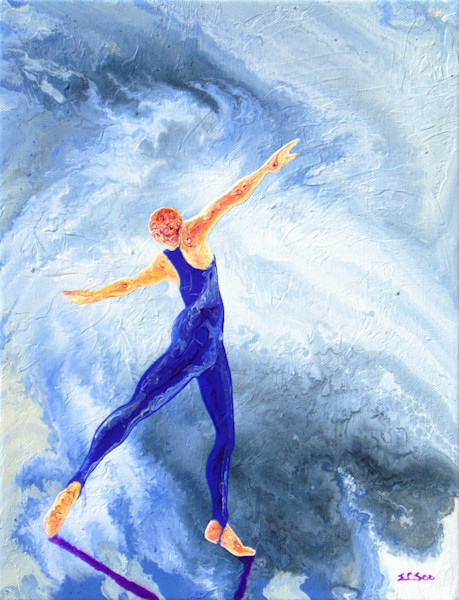Abstract Ballerina Art, Hero #2, Original Painting for Sale