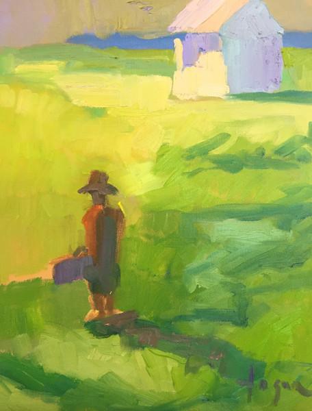 Fleeing the Coop, Original Plein Air Oil Painting by Dorothy Fagan