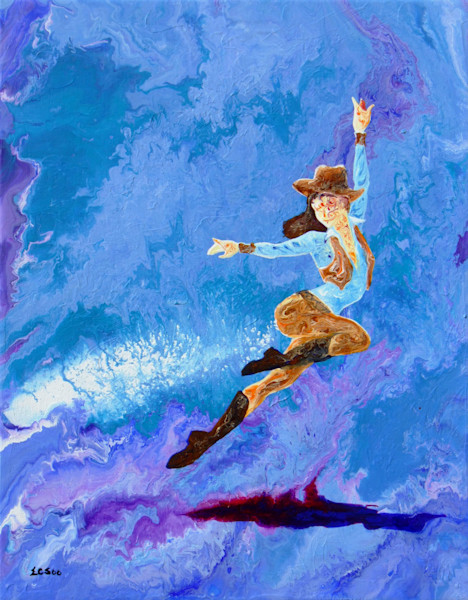 Abstract Ballerina Art, Cowgirl Up, Original Painting for Sale