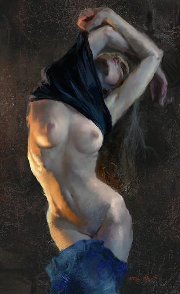 Digital painting by Eric Wallis of a woman undressing.