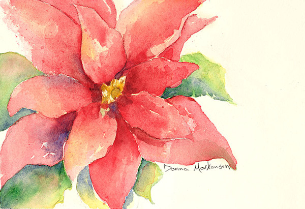 Poinsettia flower watercolor painting by Donna Mortensen.