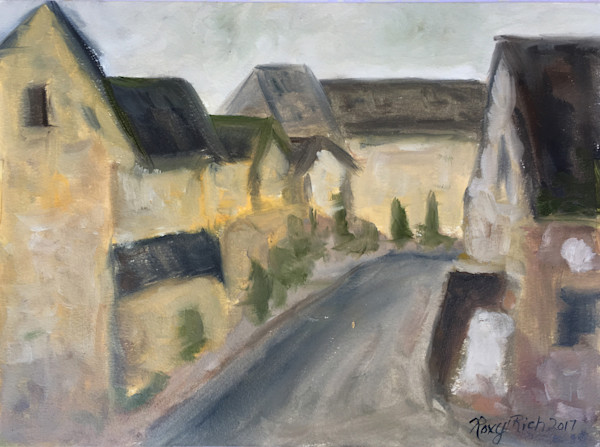 The Lower Slaughters Original Oil Painting of Cotswold Village by Roxy Rich
