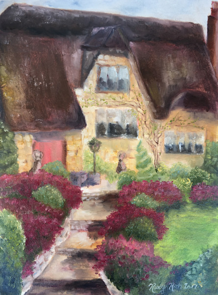 Thatched Cottage Original Oil Painting, Cotswolds, England, village painting, Agatha Raisin