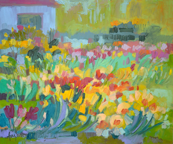 Backyard Garden Paintings by Dorothy Fagan