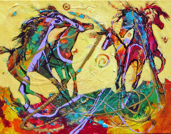 Abstract acrylic/mixed media horse series painting on canvas