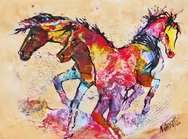 Original abstract horse series painting, framed and glazed