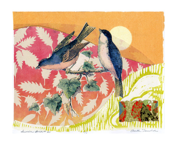 songbirds, birds and butterflies, collage on paper for sale, fine art prints by Ouida Touchon
