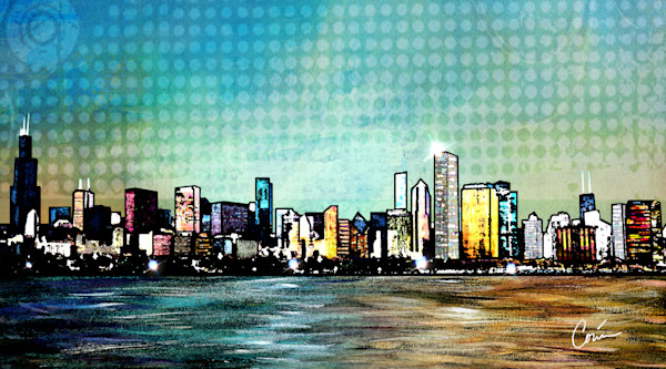 Cityscape of the Chicago Skyline as a Panoramic