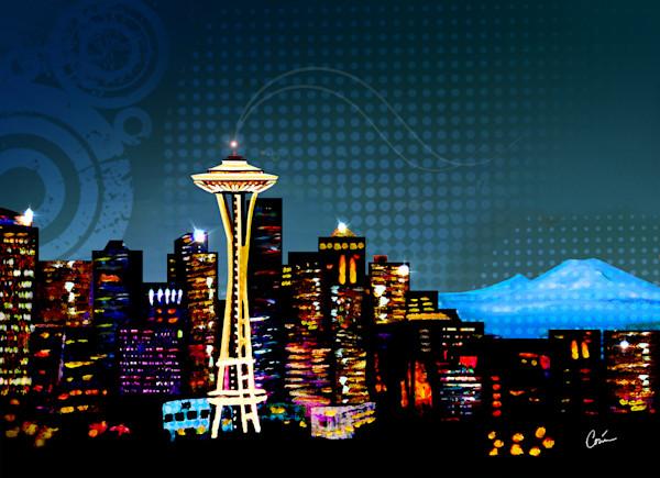 Nice Seattle Skyline Cityscape at night