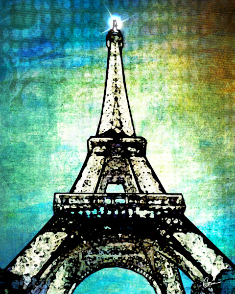 Bright and color depiction of a Cityscape of the Paris Eiffel Tower at night