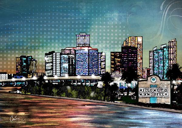 Cityscape of Miami Beach at Sunset