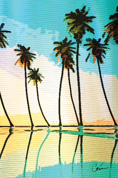 Tropical Turquoise Palm Tree Pop Art
