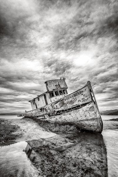 Black and White Point Reyes ship photograph. California Central Coast art.