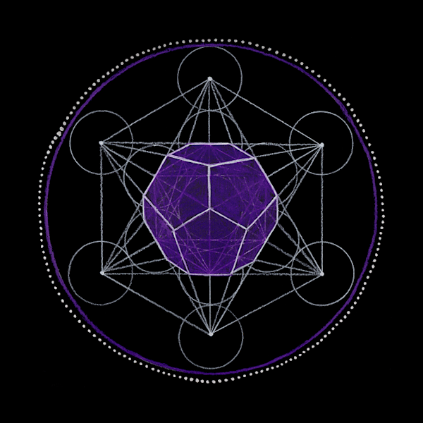 Ether, dodecahedron, third eye mandala art by Laural Virtues Wauters.