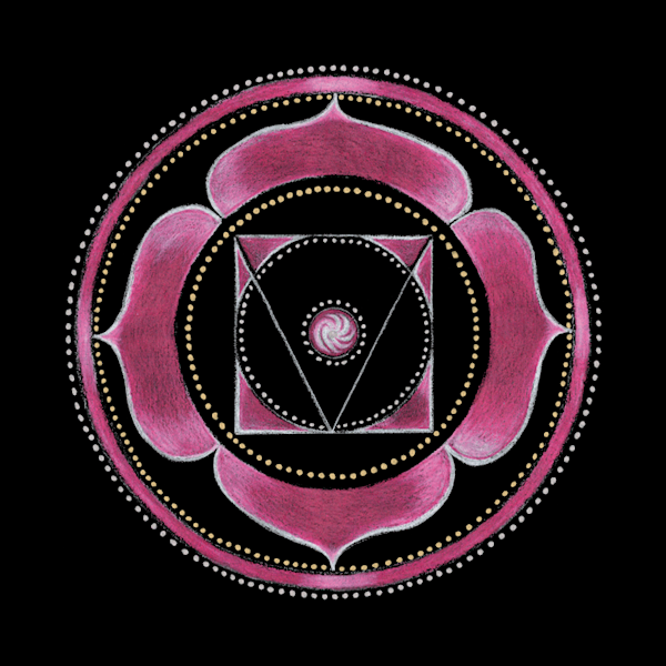 Root Chakra mandala art by Laural Virtues Wauters.
