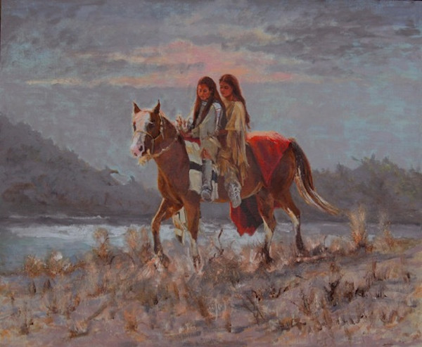 Native American Children Painting by Linda Gulinson | Navajo Sisters