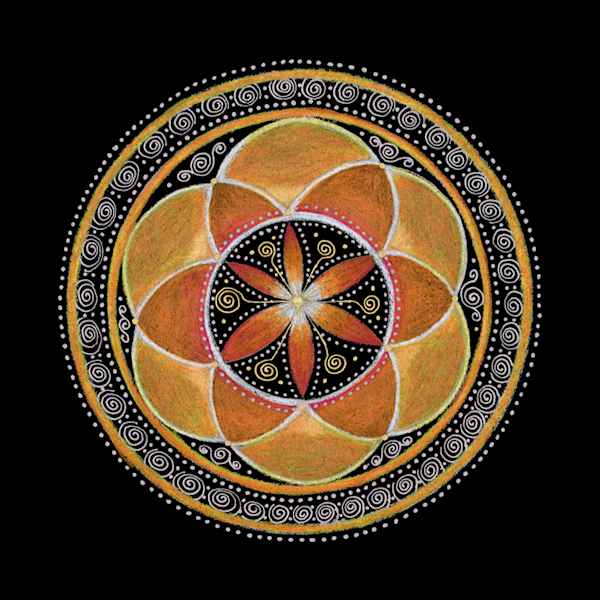 Sacral Chakra mandala art by Laural Virtues Wauters.