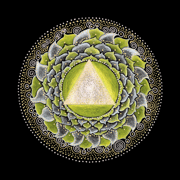 Solar Plexus Chakra mandala art by Laural Virtues Wauters.