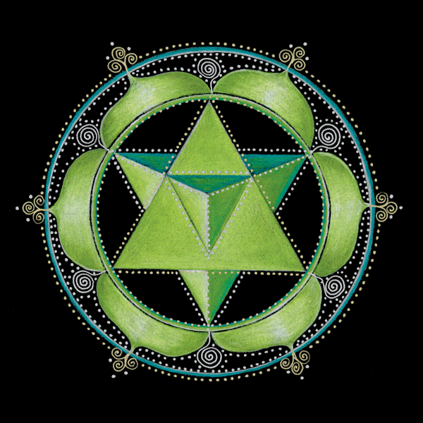 Heart chakra mandala art by Laural Virtues Wauters.