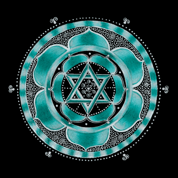 Throat chakra mandala art by Laural Virtues Wauters.