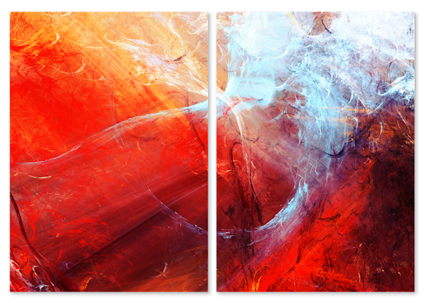 Red and Blue Abstract Multi-Panel Art
