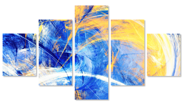 Blue and Yellow Abstract Multi-Panel Art