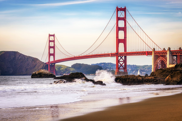 Golden Gate Bridge photograph, view from Baker Beach, San Francisco.