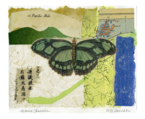 original collage art for sale,  antique paper butterfly prints, vintage papers,  vintage maps, by Ouida Touchon, artist.  artwork for sale,  assorted sizes.