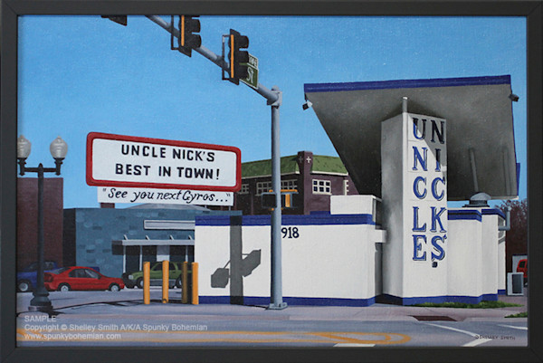 Gas Station Turned Gyro Stand | Paintings & Limited Edition Prints | Rockford, Illinois | Nostalgic