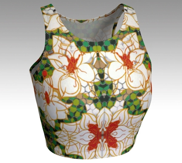 Magnolias woman's crop top