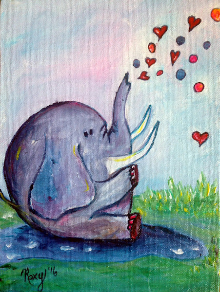 Happy Elephant, animals, wildlife, hearts, elephant, whimsical