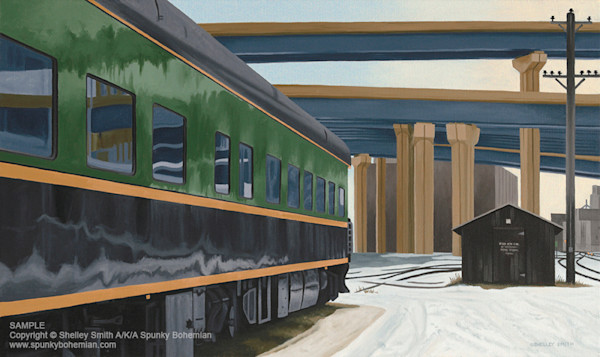 Artwork of planes, trains, automobiles and boats