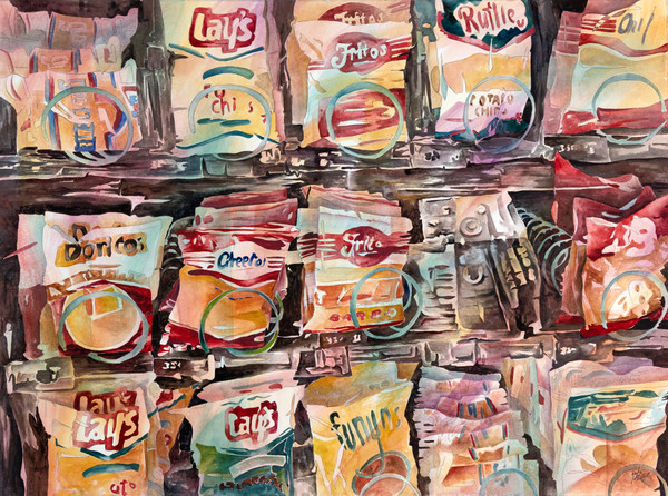 Purchase today a fine art print of Gayle Faulkner's watercolor Folded, Flavored, Furled, Fantastic.