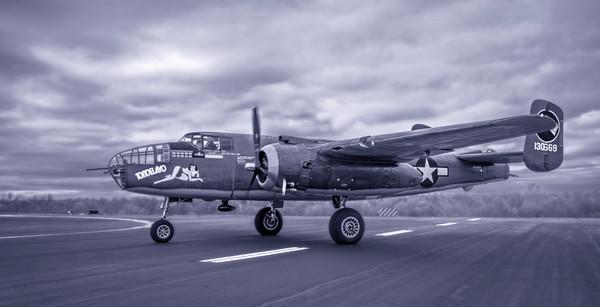B-25 Mitchell Allied Warplane Antique Monochrome fleblanc
