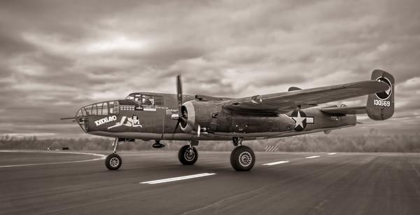 B-25 Mitchell WW2 Allied Warplane Antique Sepia fleblanc