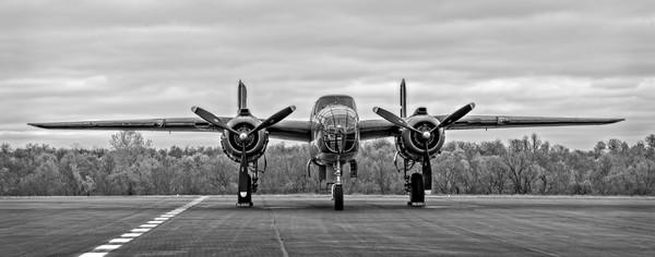 B-25 Mitchell WW2 Bomber Tondelayo Monochrome fleblanc