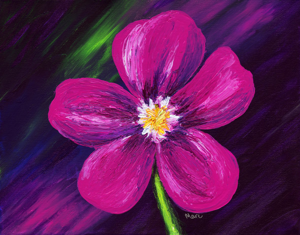 Blooming pink flower acrylic painting with metallic tones by artist Mary Anne Hjelmfelt.