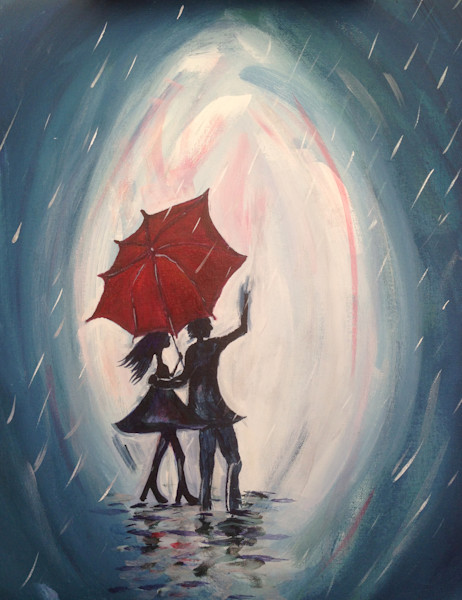 Walking in the Rain, Paris, lovers, red umbrella, couple in rain painting, romantic painting