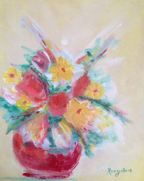 Masterpiece Flowers, flower painting, bright painting, flowers, roses, daisies, yellow