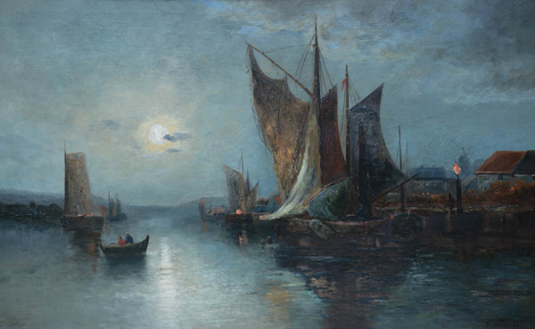Night Harbour Scene