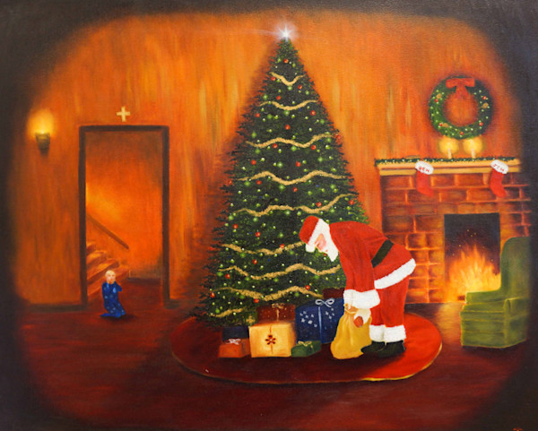 Christmas Art Prints and Original Paintings for purchase on canvas, paper, and metal,