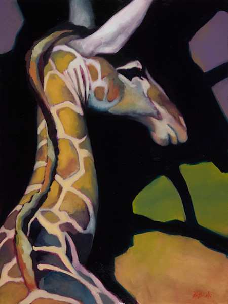 Portrait of a Giraffe, oil painting by Bottinelli