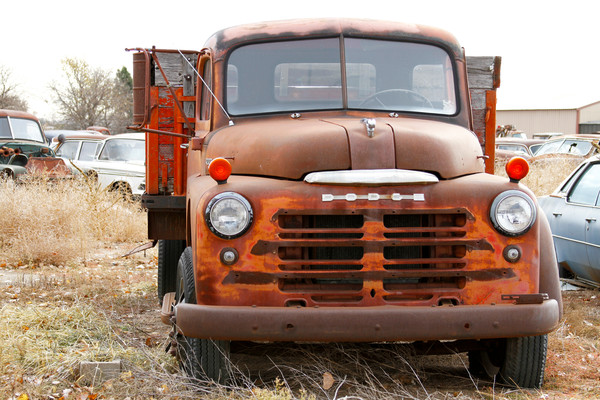 Purchase this photograph of this antique Dodge Truck in a junkyard in central Kansas