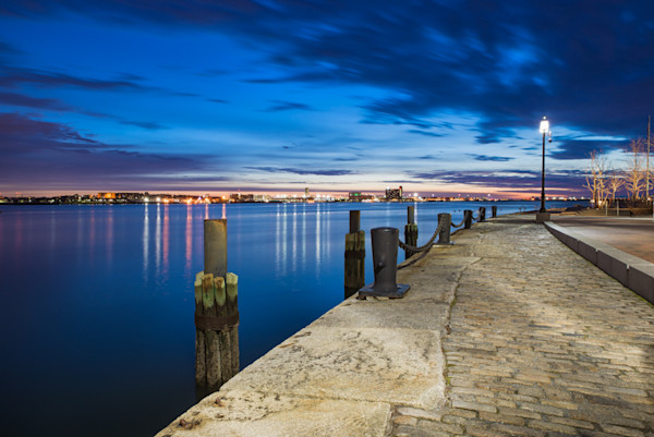 Fan Pier looking to Logan at Blue Hour