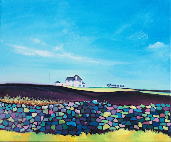 Colourful Art print of the gower coastal path